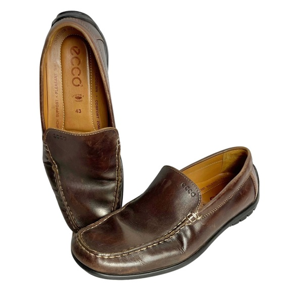 ecco Brown Leather Moc Toe Slip On Loafers Comfort